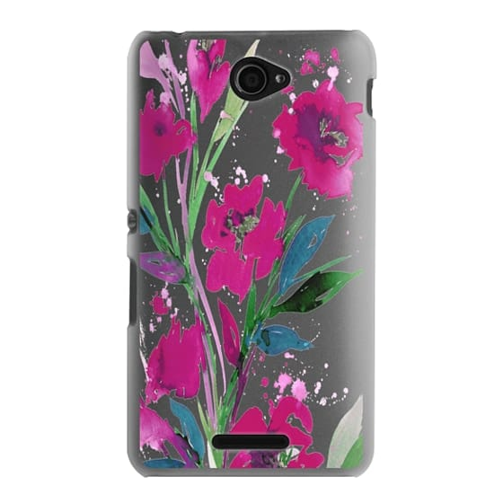 Sony E4 Cases - POCKETFUL OF POSIES Magenta Pink Teal Green, Floral Watercolor Painting Flowers Colorful Art Girly Pretty Spring Summer Garden Whimsical Fuchsia Bold Transparent Chic Lovely Design