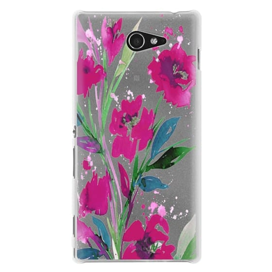 Sony M2 Cases - POCKETFUL OF POSIES Magenta Pink Teal Green, Floral Watercolor Painting Flowers Colorful Art Girly Pretty Spring Summer Garden Whimsical Fuchsia Bold Transparent Chic Lovely Design