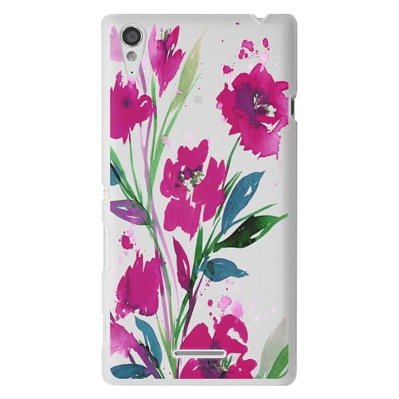 Sony T3 Cases - POCKETFUL OF POSIES Magenta Pink Teal Green, Floral Watercolor Painting Flowers Colorful Art Girly Pretty Spring Summer Garden Whimsical Fuchsia Bold Transparent Chic Lovely Design
