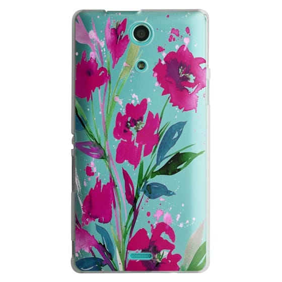 Sony Zr Cases - POCKETFUL OF POSIES Magenta Pink Teal Green, Floral Watercolor Painting Flowers Colorful Art Girly Pretty Spring Summer Garden Whimsical Fuchsia Bold Transparent Chic Lovely Design