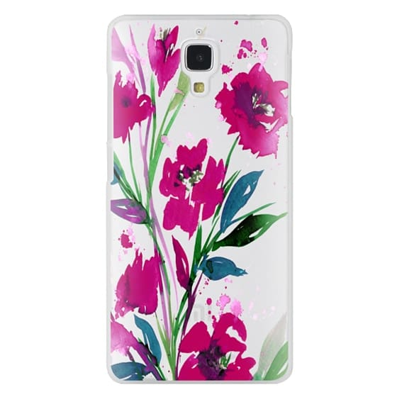 Xiaomi 4 Cases - POCKETFUL OF POSIES Magenta Pink Teal Green, Floral Watercolor Painting Flowers Colorful Art Girly Pretty Spring Summer Garden Whimsical Fuchsia Bold Transparent Chic Lovely Design