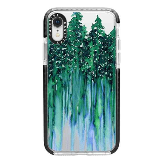 iPhone XR Cases - THROUGH THE TREES, BOLD GREEN AQUA Colorful Forest Nature Wanderlust Boho Outdoors Mountains Watercolor Painting Clear Transparent Ebi Emporium