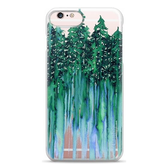 iPhone 6s Plus Cases - THROUGH THE TREES, BOLD GREEN AQUA Colorful Forest Nature Wanderlust Boho Outdoors Mountains Watercolor Painting Clear Transparent Ebi Emporium
