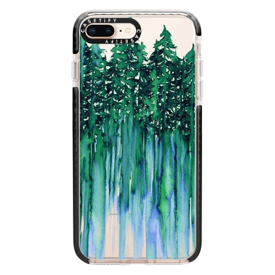iPhone 8 Plus Cases - THROUGH THE TREES, BOLD GREEN AQUA Colorful Forest Nature Wanderlust Boho Outdoors Mountains Watercolor Painting Clear Transparent Ebi Emporium