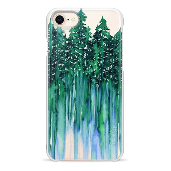 iPhone 8 Cases - THROUGH THE TREES, BOLD GREEN AQUA Colorful Forest Nature Wanderlust Boho Outdoors Mountains Watercolor Painting Clear Transparent Ebi Emporium