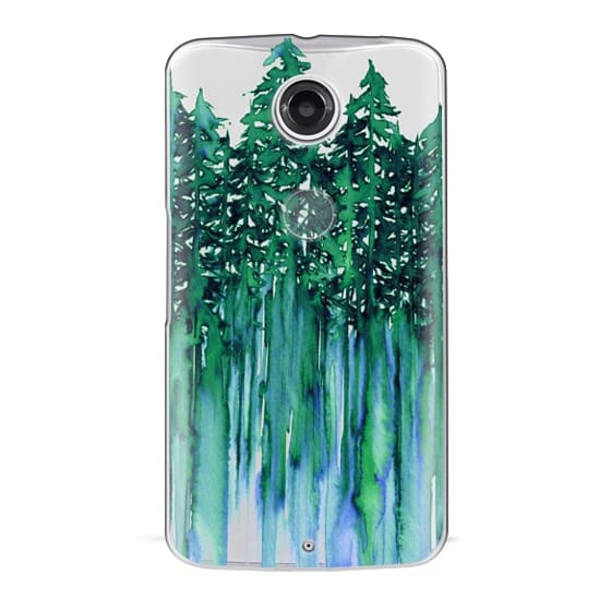 Nexus 6 Cases - THROUGH THE TREES, BOLD GREEN AQUA Colorful Forest Nature Wanderlust Boho Outdoors Mountains Watercolor Painting Clear Transparent Ebi Emporium