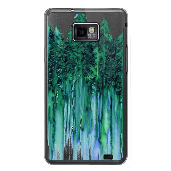 Samsung Galaxy S2 Cases - THROUGH THE TREES, BOLD GREEN AQUA Colorful Forest Nature Wanderlust Boho Outdoors Mountains Watercolor Painting Clear Transparent Ebi Emporium