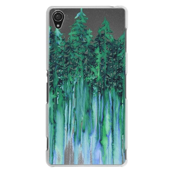 Sony Z3 Cases - THROUGH THE TREES, BOLD GREEN AQUA Colorful Forest Nature Wanderlust Boho Outdoors Mountains Watercolor Painting Clear Transparent Ebi Emporium