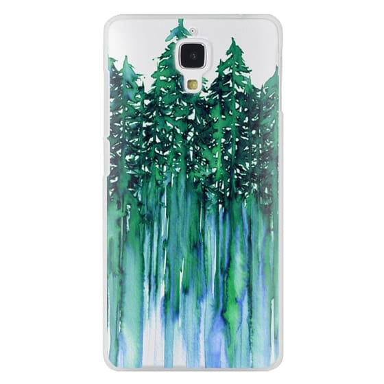 Xiaomi 4 Cases - THROUGH THE TREES, BOLD GREEN AQUA Colorful Forest Nature Wanderlust Boho Outdoors Mountains Watercolor Painting Clear Transparent Ebi Emporium