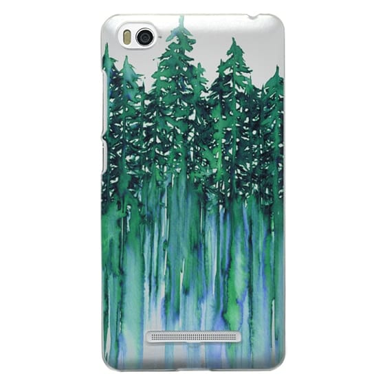 Xiaomi 4i Cases - THROUGH THE TREES, BOLD GREEN AQUA Colorful Forest Nature Wanderlust Boho Outdoors Mountains Watercolor Painting Clear Transparent Ebi Emporium