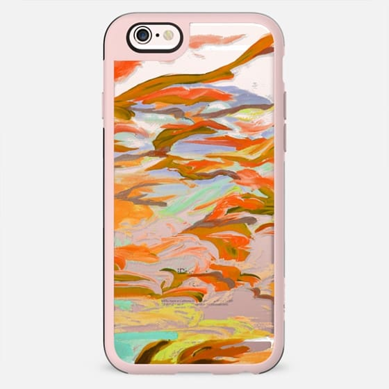 STILL UP IN THE AIR 5 - Colorful Warm Autumn Fall Swirls Abstract Sky Clouds Swirls Fine Art Painting Orange Green Transparent Whimsical Nature - New Standard Case