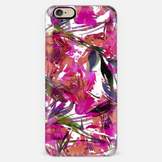 FLORAL FIESTA - TROPICAL PUNCH Bright Floral Watercolor Abstract Painting Spring Summer Island Garden Flowers Leaves Magenta Hot Pink Orange White Lovely Colorful Girly Nature Pattern Design -