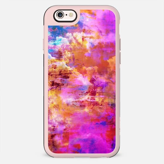 OFF THE GRID 5 Cloudy Sky Summer Whimsical Pink Orange Purple Clouds Abstract Watercolor Acrylic Fine Art Painting Nature Girly Chic Swirls Modern Design - New Standard Case