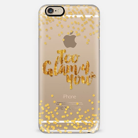 TOO GLAM 4 YOU Shimmer Yellow Gold Color Sparkle Glamorous Chic Polka Dots Typography Quote Style Fashion Feminine Transparent Modern Girly Pattern Ebi Emporium Lovely Spots Art -