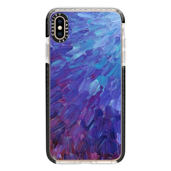 iPhone XS Max Cases - SCALES OF A DIFFERENT COLOR - Bold Deep Violet Aubergine Lavender Periwnke Purple Ombre Ocean Waves Splash Abstract Peacock Feathers Painting