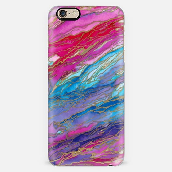 AGATE MAGIC, PINK RED AQUA LAVENDER Marble Glam Watercolor Painting Abstract Art Spring Summer Colorful Geode Marbled Gold Metallic Accents Glamorous  Girly Modern Trendy Lovely Design -