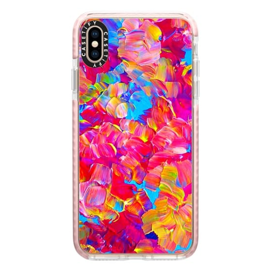 iPhone XS Max Cases - FLORAL FANTASY - Bold Abstract Flowers Acrylic Textural Painting Neon Hot Pink Turquoise Garden Bouquet Girlie Sweet Lovely Feminine Art Painting