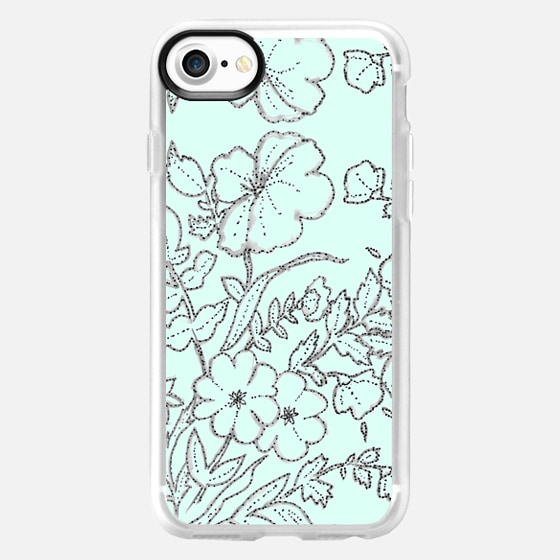 Dotted Floral Scroll Mint -