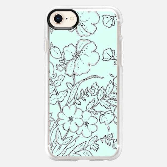 Dotted Floral Scroll Mint - Snap Case
