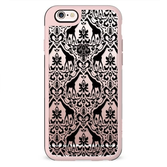 Giraffe Damask Black Clear