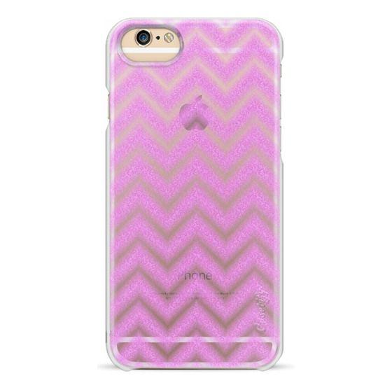 iPhone 6s Cases - Glitter Pink Chevron Transparent