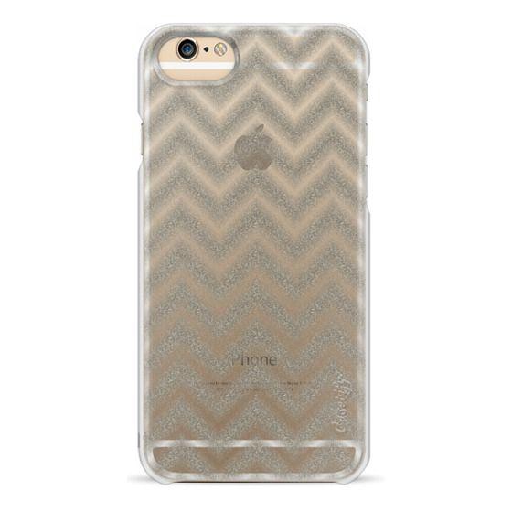 iPhone 6s Cases - Glitter Silver Chevron Transparent