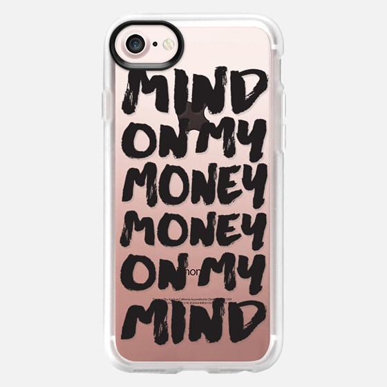 Bold black trendy typography money brush script transparent - Wallet Case