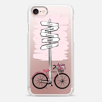 iPhone 7 Case Pink Bike Travels