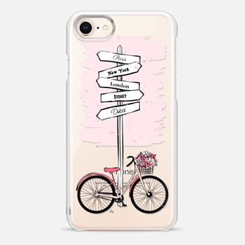 iPhone 8 Case Pink Bike Travels