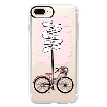 Grip iPhone 8 Plus Case - Pink Bike Travels