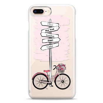 Snap iPhone 8 Plus Case - Pink Bike Travels