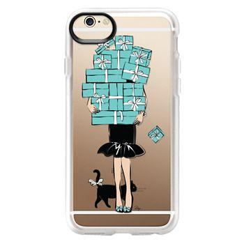 Grip iPhone 6 Case - Tiffany's Blue Boxes Girl (Light Skin) Fashion illustration Transparent Case