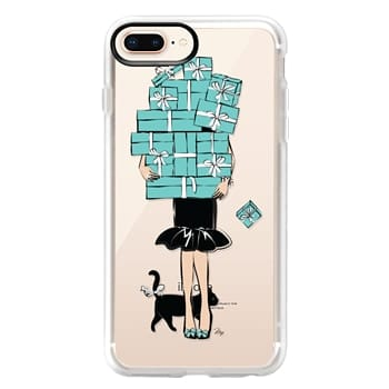 Grip iPhone 8 Plus Case - Tiffany's Blue Boxes Girl (Light Skin) Fashion illustration Transparent Case