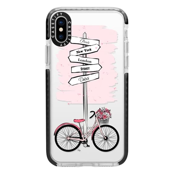 iPhone X Cases - Pink Bike Travels