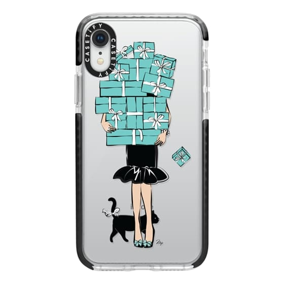 iPhone XR Cases - Tiffany's Blue Boxes Girl (Light Skin) Fashion illustration Transparent Case