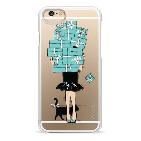 iPhone 4 Cases - Tiffany's Blue Boxes Girl (Light Skin) Fashion illustration Transparent Case