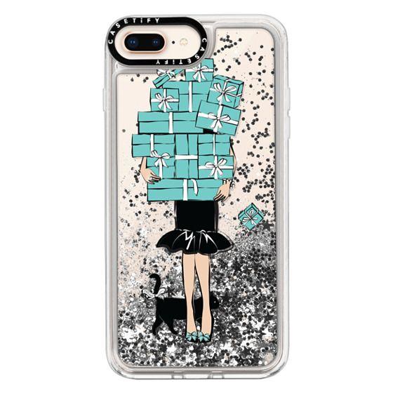 iPhone 8 Plus Cases - Tiffany's Blue Boxes Girl (Light Skin) Fashion illustration Transparent Case