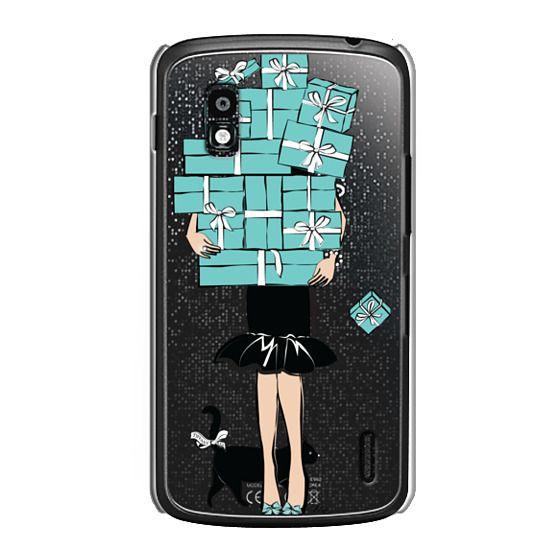 Nexus 4 Cases - Tiffany's Blue Boxes Girl (Light Skin) Fashion illustration Transparent Case