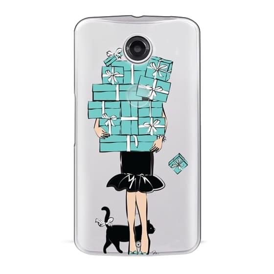 Nexus 6 Cases - Tiffany's Blue Boxes Girl (Light Skin) Fashion illustration Transparent Case