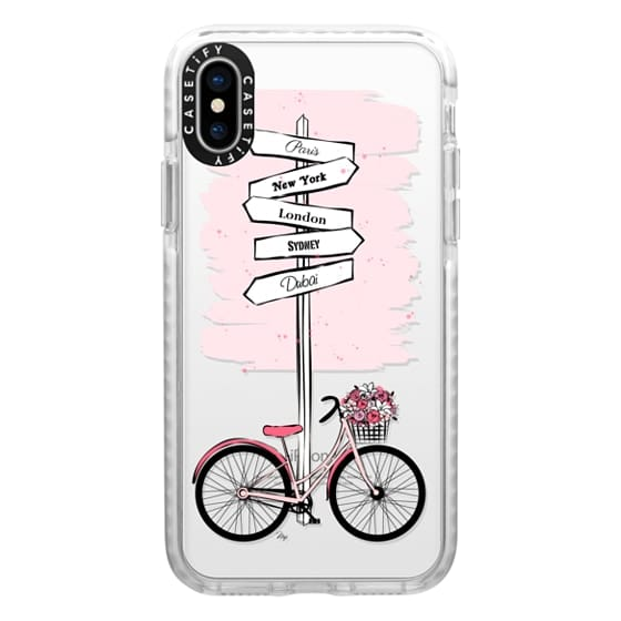iPhone X Cases - Pink Bike Travels