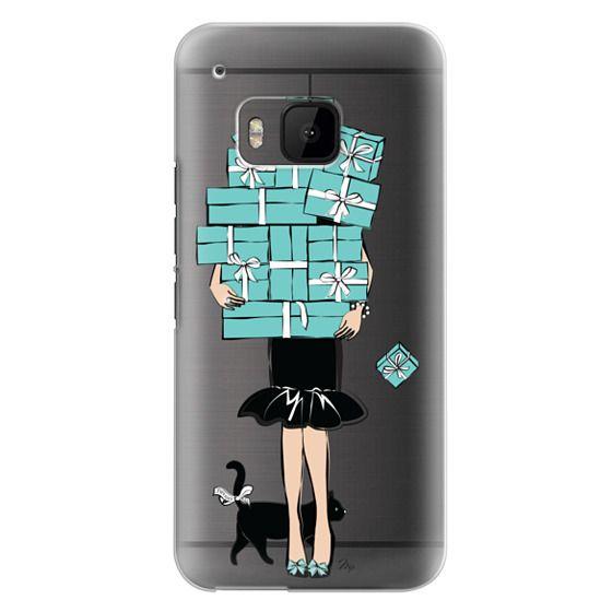 Htc One M9 Cases - Tiffany's Blue Boxes Girl (Light Skin) Fashion illustration Transparent Case