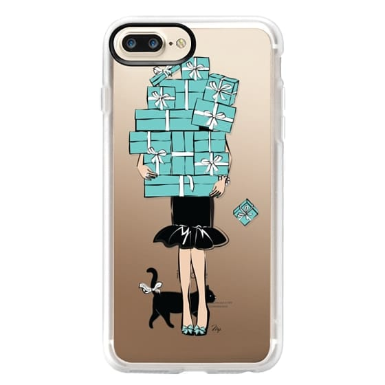 iPhone 7 Plus Cases - Tiffany's Blue Boxes Girl (Light Skin) Fashion illustration Transparent Case