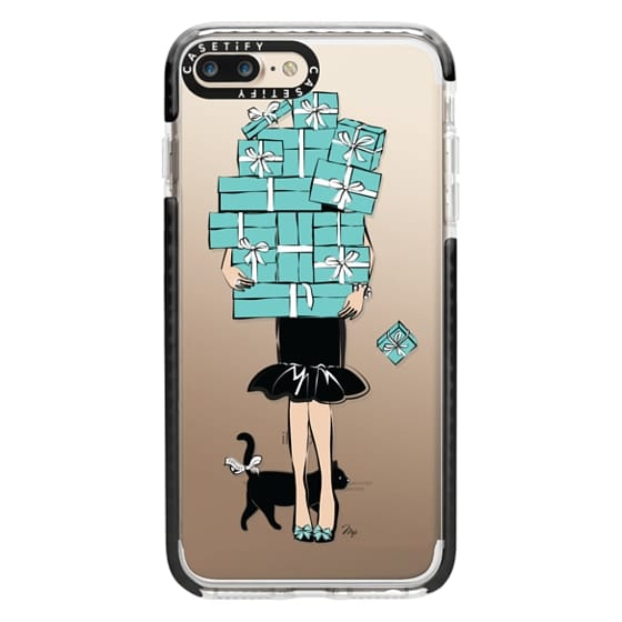 iPhone 7 Plus Cases - Tiffany's Blue Boxes Girl (Light Skin) Fashion illustration Transparent Case