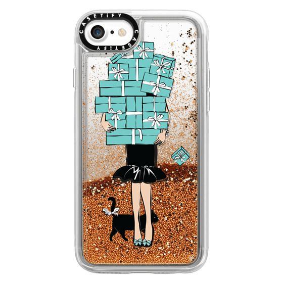 iPhone 7 Cases - Tiffany's Blue Boxes Girl (Light Skin) Fashion illustration Transparent Case