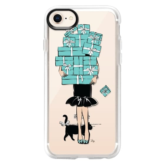 iPhone 8 Cases - Tiffany's Blue Boxes Girl (Light Skin) Fashion illustration Transparent Case