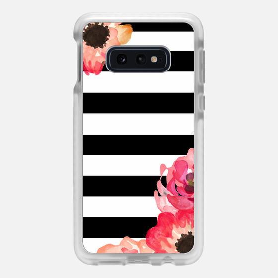 Samsung Galaxy / LG / HTC / Nexus Phone Case - Striped Florals (Black & White)