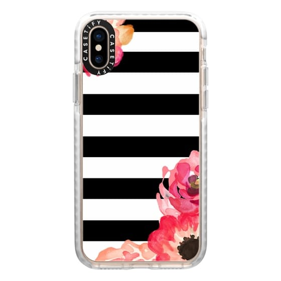 iPhone XS Cases - Striped Florals (Black & White)