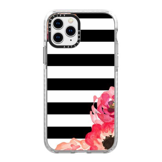 iPhone 11 Pro Cases - Striped Florals (Black & White)