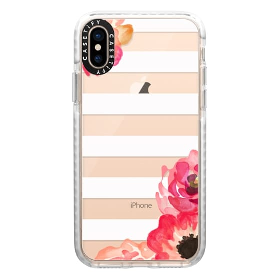 iPhone XS Cases - Striped Florals (Transparent)