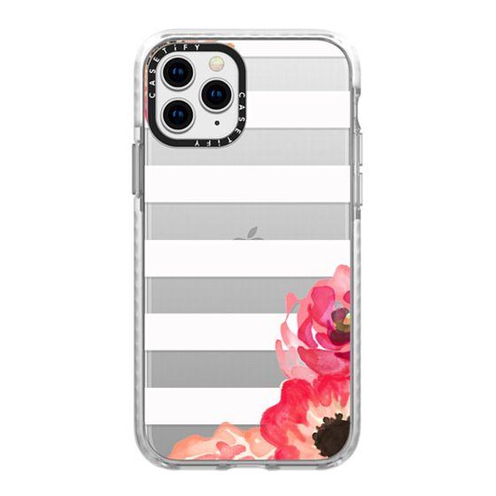 iPhone 11 Pro Cases - Striped Florals (Transparent)